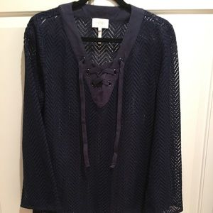 Laundry {navy} Open Weave Lace-Up Tunic